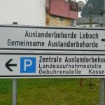 Hinweisschild in der Landesaufnahmestelle Lebach